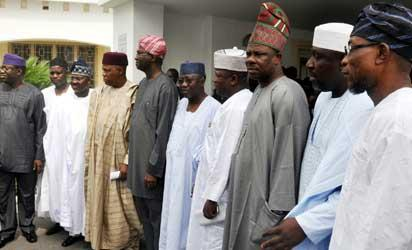OPPOSITION—From right: Gov Kayode Fayemi (Ekiti); representative of Yobe State Governor, Senator Jejere Alkali; Govs  Abiola Ajimobi (Oyo); Kashim Shettima (Borno); Babatunde Fashola (Lagos); Umar Tanko Al -Makura (Nasarawa); Abdul-Aziz Yari (Zamfara); Ibikunle Amosun (Ogun); Rochas Okorocha (Imo) and Rauf Aregbesola (Osun), after the meeting of Opposition Governors on the proposed merger, held at Lagos House Marina, yesterday. Photo: Bunmi Azeez.