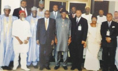 Onwuka (4th left), superimposed in this picture with President Jonathan (middle) and other eminent Nigerians.