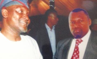 Onwuka (r) in superimposed picture with business mogul, Alhaji Dangote