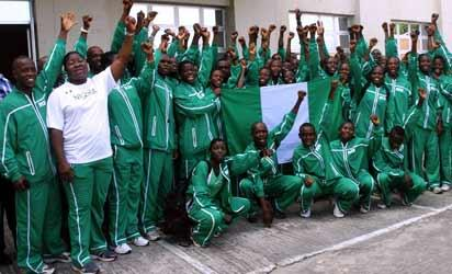 READY TO GO . . . Team Nigeria on arrival for the Africa Youth Athletics Championships ( AYAC), Warri 2013. Photo: Henry Unini
