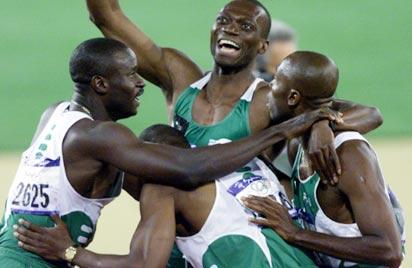 GOLDEN QUARTET.. Nigeria's 4x400m relay team to the Sydney 200 Olympic Games rejoice after picking the silver medal behind drug tainted USA team. The gold medal has been restored and Clement Chukwu is excited about it.