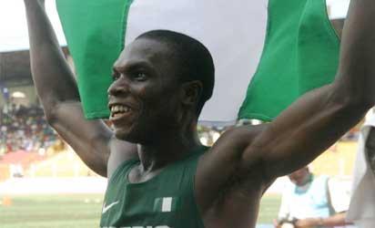 DIVINE GOLD – Oduduru Divine of Nigeria celebrating after winning the 200m boys final in a time of21.56sec. Photo: Henry Unini