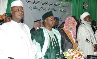 From left: Gov. Aliyu Magatakarda Wamakko of Sokoto State, Vice President Namadi Sambo, Secretary General, Muslim World League, Makkah-Saudi Arabia, Dr. Abdullahi Bin Abdul-Mushin Al-Turki and the Sultan of Sokoto, Alhaji Muhammadu Sa'ad Abubakar during the International Conference on Islam and the Fundamentals of peaceful co-existence in Nigeria in Sokoto yesterday.