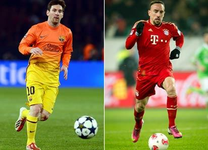 A combo picture shows Bayern Munich's winger Franck Ribery (R) and Barcelona's Argentinian forward Lionel Messi. Barcelona will play Bayern Munich in the first leg of the semi-finals of the Champions league on April 23, 2013. AFP PHOTO