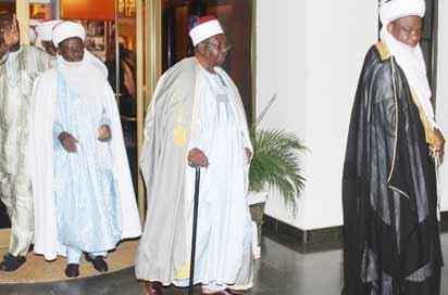 CONSULTATION—Sultan of Sokoto, Alhaji Sa'ad Abubakar III (right) and some traditional rulers from the North after holding consultations with President Goodluck Jonathan at the First Lady's Conference Hall, Aso Villa, Abuja on Monday. Photo: Abayomi Adeshida.
