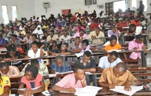 Candidates writing the UTME at the University of Abuja, Saturday.