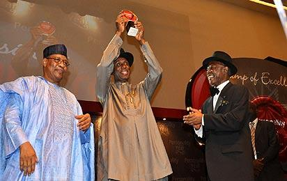 Pix from left General Ibrahim Babangida, Chairman of the occassion; Personality of the year man, Rt Hon Chibuike Rotimi Amaechi, Governor of Rivers State and Mr Sam Amuka, Publisher at the Vanguard Personality of the Year Award 2012 held at Eko Hotel and Suites, Victoria Island, Lagos on Saturday.