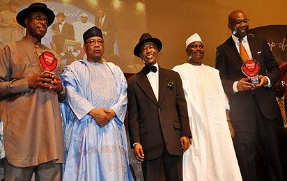 Pix from left Rt Hon Chibuike Rotimi Amaechi, Governor of Rivers State and winner Vanguard Personality of the Year award 2012; General Ibrahim Babangida, Chairman of the occassion; Mr Sam Amuka, Publisher, Vanguard