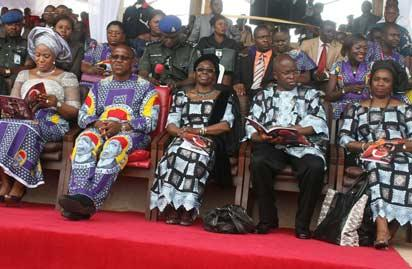 Gov. Obi's Wife, Margaret; Gov. Peter Obi; Achebe's widow,  Mrs. Christie Achebe; son, Dr.  Ike  Achebe and Daughter, Prof. Nwando Achebe  at the farewell ceremony in honour of the late Prof.  Chinua Achebe by Anambra State government at the Ekwueme Square, Awka. Photo: Vincent Ujumadu.