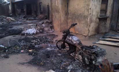The burnt Bama Police Barracks yesterday