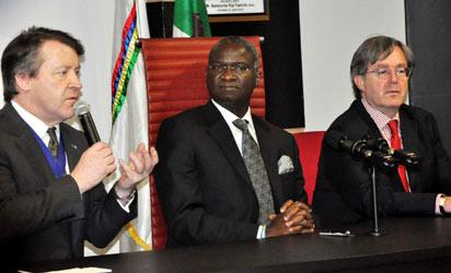 L-R Hon. Alderman Roger Gifford, Lord Mayor of the City of London, Gov. Babatunde Fashola of Lagos state and Mr. Peter Carter, Deputy British High Commissioner in Lagos, During the Lord Mayor of the City of London visit Governor of Lagos state in Ikeja. Photo: Bunmi Azeez