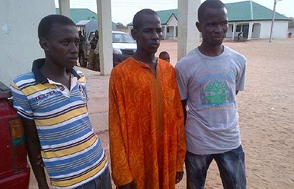 The suspected killers of Major-General Shuwa paraded by the JTF in Maiduguri, Borno State, yesterday. Photo: NAN.