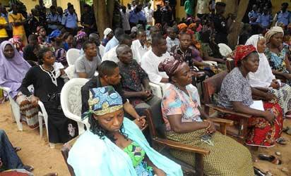 Widows and family members of the slain policemen during the visit  the Inspector General of Police Mohammed Abubakar to the police headquarters, Lafia, Nasarawa State, weekend. Photo: NAN.