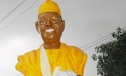 NADECO [National Democratic Coalition] Marks the 19th Anniversary of Late Chief  M K O Abiola s 1994 Epetedo Declaration of  president Elect held at Epetedo Multipupose Hall Lagos. Pix Shows  the statue of late Chief MKO Abiola at Epetedo Lagos.  Photo: Shola Oyelese