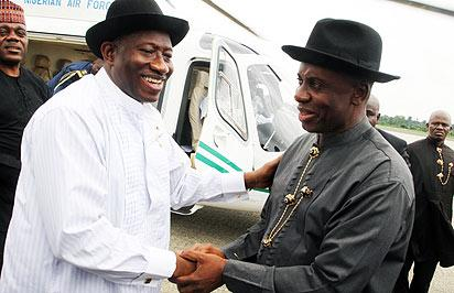 President Goodluck Jonathan being received by Governor Rotimi Amaechi at the Port Harcourt International Airport . The President was on his way to Abuja from Bayelsa Sunday morning.