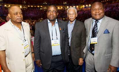 From left: Senator Ken Nnamani, Sir. Emeka Offor, Executive Vice Chairman of the Chrome Group; Howard F. Jeter, and Adetukumbo Kayode on Sunday  at the opening ceremony of the ongoing 2013 annual Rotary International Convention in Lisbon, Portugal.Photo by EEMEKA AGINAM