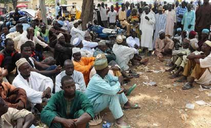 2012 Bauchi State flood victims waiting at bank in Bauchi for money on Tuesday