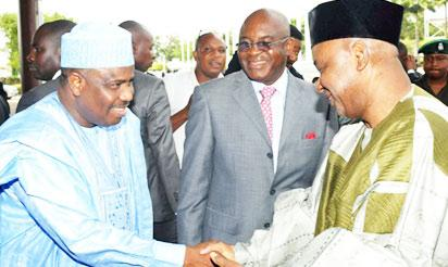 From left: Hon Waziri Tambuwal, Senator David Mark and VP Namadi Sambo