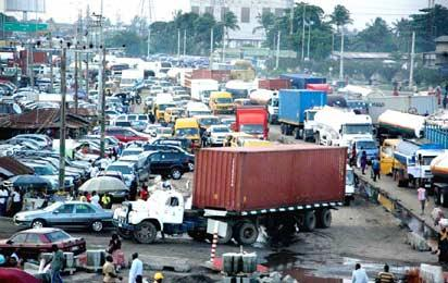 Traffic Gridlock at Mile 2 Bus Stop Along Oshodi Apapa Expressway Lagos.Photo By Akeem Salau.
