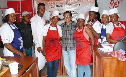 •Chuks Anselyn (3rd left) in a group photograph with some of his students; middle is Chef Lalu Surdiham, Knorr Taste Quest's Season 1 winner.