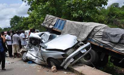 A SCENE OF AN ACCIDENT ON OKPILA/AUCHI ROAD IN EDO STATE