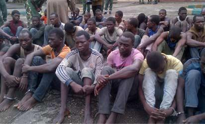 Boko Haram suspects paraded by the police in Lagos, yesterday. PHOTO: Evelyn Usman.