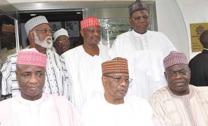 MEETING: From left: Governor Aliyu Wamakko of Sokoto State; former Military President, General Ibrahim Babangida (rtd); Governor Mu'azu Babangida Aliyu of Niger State; Governor Sule Lamido of Jigawa State; Governor Rabiu Musa Kwankwaso of Kano State and former Head of State, General Abdulsalami Abubakar (rtd) after a meeting at the Presidential Lodge, Minna, Niger State, yesterday.