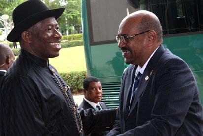 *AU SUMMIT: President Goodluck Jonathan (left) and President Omar Albashir of Sudan at the opening of African Union, AU, Heads of State and Governments' special summit on Hiv/Aids, Tuberculosis and Malaria in Nigeria, yesterday. STATE HOUSE PHOTO.