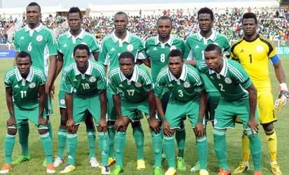 The Nigerian football team's starting lineup is pictured before the 2014 CH AN qualification match between Nigeria and Ivory Coast in Kaduna