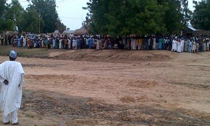 Cross section of fleeing Nigerians in Ashigashiya town, Gwoza LGA, in Borno state following the Boko Haram crisis. Photo Ndahi