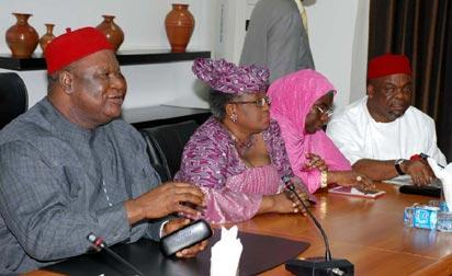 ASUU STRIKE: From left— Chief Emeka Wogu, Minister of Labour and Productivity; Professor Ruqayyatu Rufa'i, Minister of Education; Dr. Ngozi Okonjo-Iweala, Minister of Finance, and Senator Pius Anyim, Secretary to the Government of the Federation, at a meeting with the Academic Staff Union of Universities, ASUU, in Abuja, Monday. PHOTO: Abayomi Adeshida.