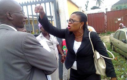 *Accused in an altercation with lawyer after the court session