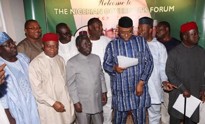 R-L; Governors Martins Elechi, Godswill Akapbio, Segun Mimiko; Deputy  Governor Kogi, Yomi Awoniyi, Governors Jonah Jang, T Orji and Others after their meeting recently in Abuja. PHOTO; Sinday  Aghaeze