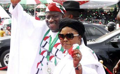 *President Goodluck Jonathan and his wife at 2013 PDP Special National Convention . Photo by Gbemiga Olamikan.