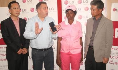 From left: GM, LG Service, LG Electronics HQ, Mr. Dongjun Bae; Managing Director, Fouani, Nigeria Limited, Mr. Mohammed Fouani; LG Pink Service Technician, Miss Titilope Sukurat Okuniyi and General Manager, LG Service, LG Electronics West Africa Operations, Mr. Weolwoo Choi during the official unveiling of LG Pink Service in Lagos.