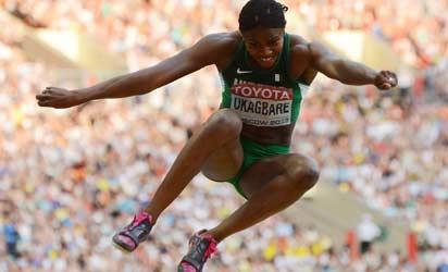 Blessing Okagbare (left) leaps to 6.99m to win silver in the women's long jump at the IAAF World Athletics Championships in Moscow yesterday.