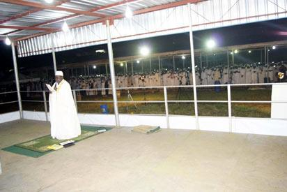 *Sheikh Abdullah Gbade Akinbode leading a superrogatory prayer during the Lailatul-Quadr held by NASFAT in Mowe, Ogun State.