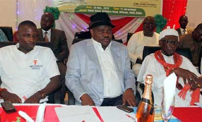 LAUNCH: From left— High Chief Government Ekpemupolo, alias Tompolo; Mr. Ezenwo Wike, Minister of State, Education, and HRM Pere Godwin Bebenimibo, Ogeh Gbaran III, Aketekpe of Gbaramatu Kingdom, at the launch of Tompolo Foundation in Effurun, Delta State.