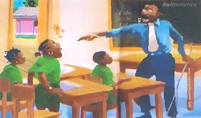 Old method of teaching; teacher seems battle-ready