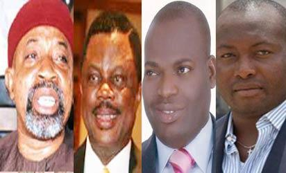 Ngige, APC; Obiano, APGA; Nwoye, PDP; Uba, Labour