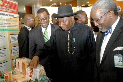 President Goodluck Jonathan (middle), Chairman, Board of Nigerian Economic Summit Group, Mr. Foluso  Phillips(left) and Minister of Agriculture, Dr. Akinwunmi Adeshina, at the opening of the 19th Nigerian Economic Summit in Abuja, yesterday. STATE HOUSE PHOTO.