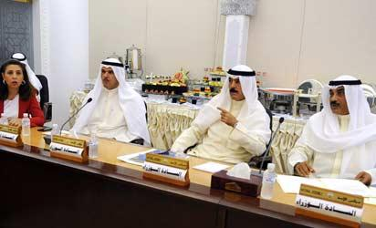 (From L-R) Kuwaiti Minister of Planning, Development and State Minister for National Assembly Affairs Rula Dashti, Information and State Minister for Youth Affairs Sheikh Salman Sabah al-Sabah, Deputy Prime Minister and Interior Minister Mohammad Khaled al-Sabah and First Deputy Prime Minister and Foreign Minister Sheikh Sabah Khaled al-Sabah, attend a meeting at the national assembly in Kuwait City on September 4, 2013, to discuss the state's emergency plan in case of a potential US military strike against Syria. AFP PHOTO