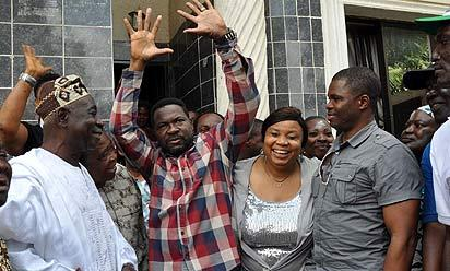 HOME, SWEET HOME: From left: Oba Lasisi Gbadebo Gbadamosi, Onigando of Igando land, Chief Mike Ozekhome, SAN, his wife, Josephine and his son Mr. Ilugbehai, during the celebration of Chief Ozekhome's release by kidnappers, at his residence at Igando, Lagos, yesterday. Photo: Bunmi Azeez.
