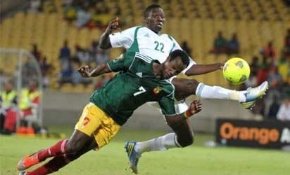 OUT OF REACH•••Super Eagles Kenneth Omeruo controls the ball as Saladin Seid of Ethiopia attacks.