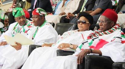 Vice-President Namadi Sambo, President Goodluck Jonathan, Dame Patience Jonathan and Bamanga Tukur at the PDP Convention in Abuja
