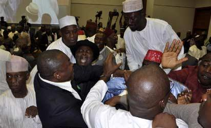 Fight at National Assembly Tuesday. Photo  by Gbemiga Olamikan