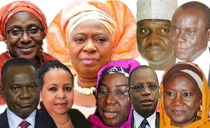 Top: Zainab Kuchi, Erelu Olusula Obada,  Buka Tijani, and Ita Bassey Ewah  Below: Olugbenga Ashiru, Ama Peppel, Ruquyatu Rufai,  Shamshudeen Usman and  Hadiza Mailafia