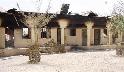 One of the burnt school buildings in Maiduguri