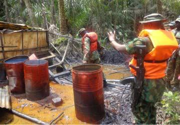 One of the illegal refinery site scuttled by operatives of JTF