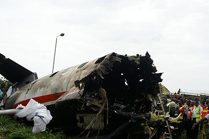 *Engine of the aircraft , at the Joint Users Hydrant Installation, JUHI, Avation Fuel Depot, site where  the plane crashed. The aircraft with number SCD 361 was operated by Associated Airlines Limited. Photo: Diran Oshe.